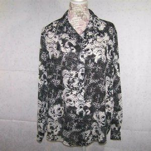 Leslie Fay Top Shirt Sheer Button Front Long Sheeves Black Womens Large Blouse